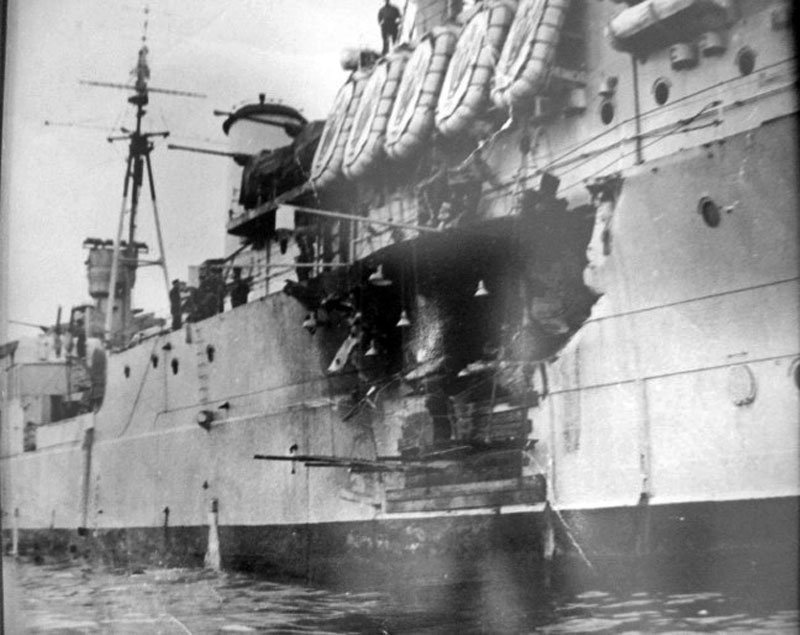 The damage to HMS Phoebe