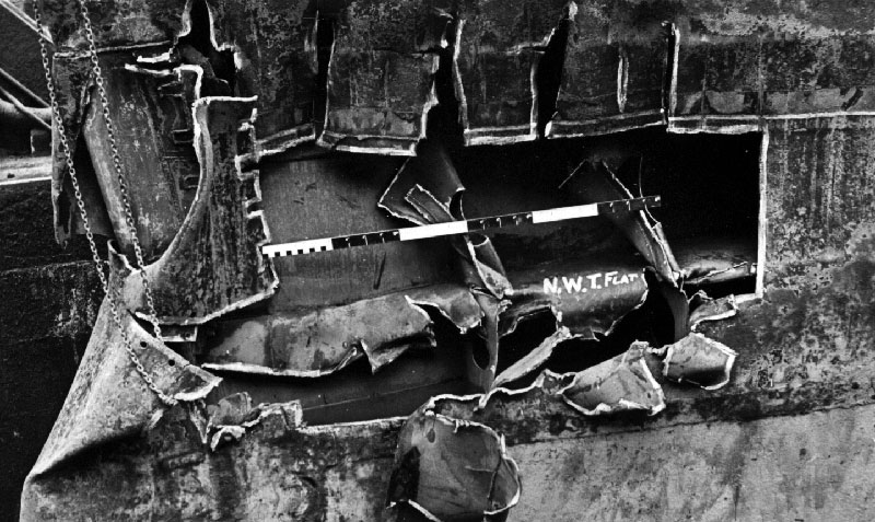 Damage to HMS Gambia after collision with HMS Pheobe