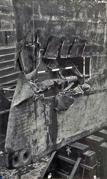 Damage to HMS Gambia's bows after the collision with HMS Phoebe