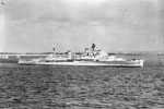 HMS Gambia arriving at Spithead on June 8, 1953 for the Coronation Naval Review. She is wearing the flag of Rear Admiral C F W Norris, DSO, Flag Officer Flotillas, Mediterranean. Imperial War Museum A32571