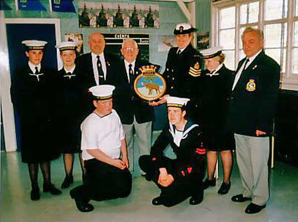 Presenting Huddersfield Sea Cadets with the HMS Gambia plaque