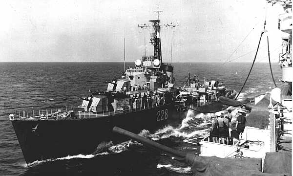 Fuelling HMCS Crusader from HMS Warrior ~ 1953