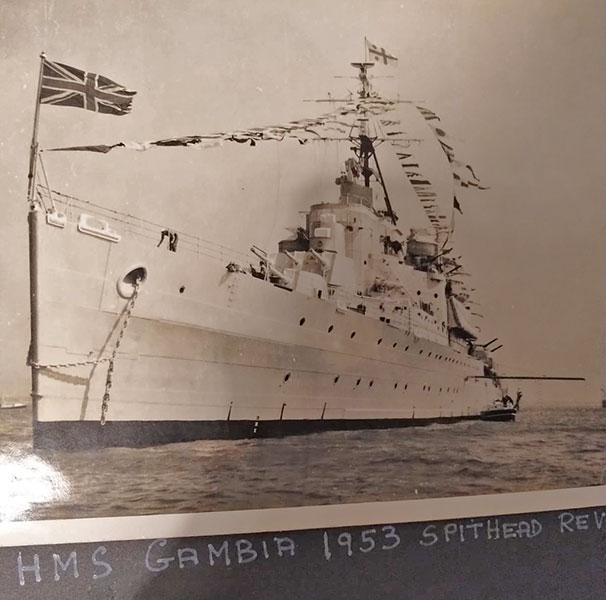 HMS Gambia at the Spithead review, 1953. Photo very kindly supplied by Michael Headon