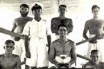 HMS Gambia's 1952 Fleet Regatta team. Taff Morgan, Ldg. Stoker/Diver Wally Morgan, Taff Jakes, Taff Sinnott, Snr. Engineer, Roberts and PO(ME) Alan Giddings. Photo kindly submitted by Barry Morgan, Wally's Son. Alan Giddings identified by his son, Robert Giddings MBE