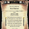 HMS Fiji Internet Association scroll for Ray Thomas