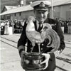 "A beaming Captain Sam Davis of SAS President Steyn (""Superduck"") with the Cock of the Fleet trophy in 1975."