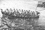 HMNZS Gambia whaler race in the Philippines, March 1945. Photo kindly supplied by Peter Bennett.